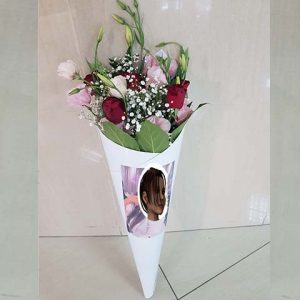 קונוס פרחים עם תמונה והקדשה אישית